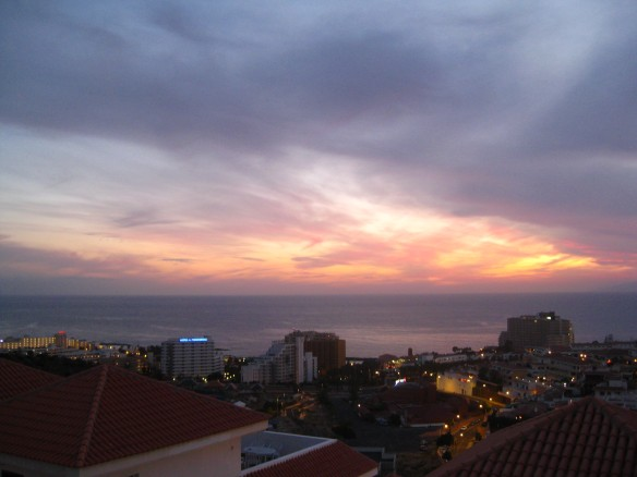 My first Tenerife sunset. From our back porch.
