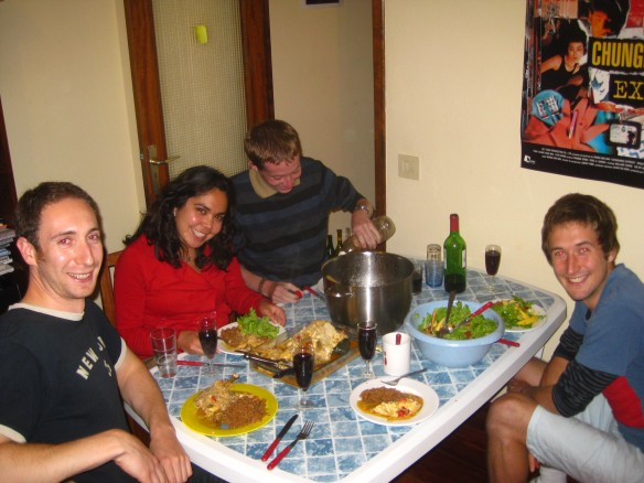 Our first night´s dinner. left to right, Jon, Ana, Chris, David