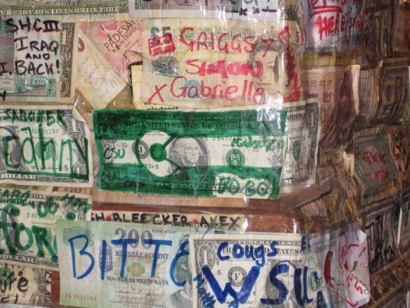 Grabbing a drink in the hostel. Someone was here from CSU!!