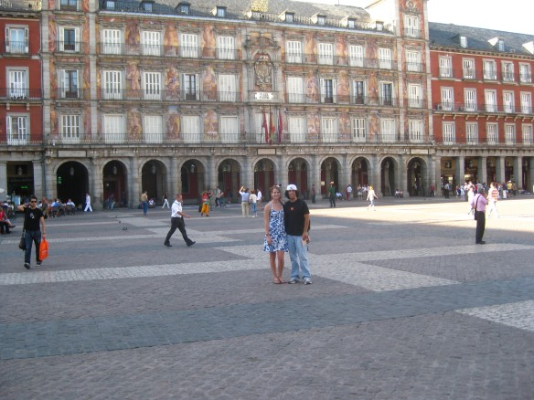 The Plaza de Espana, Madrid. With Miss Mary White, who studied nearby.