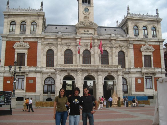 Pili, me, and Antonio in the Plaza Mayor in Valladoloid
